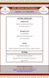 Menú Cocina Mudéjar Llerena 2011