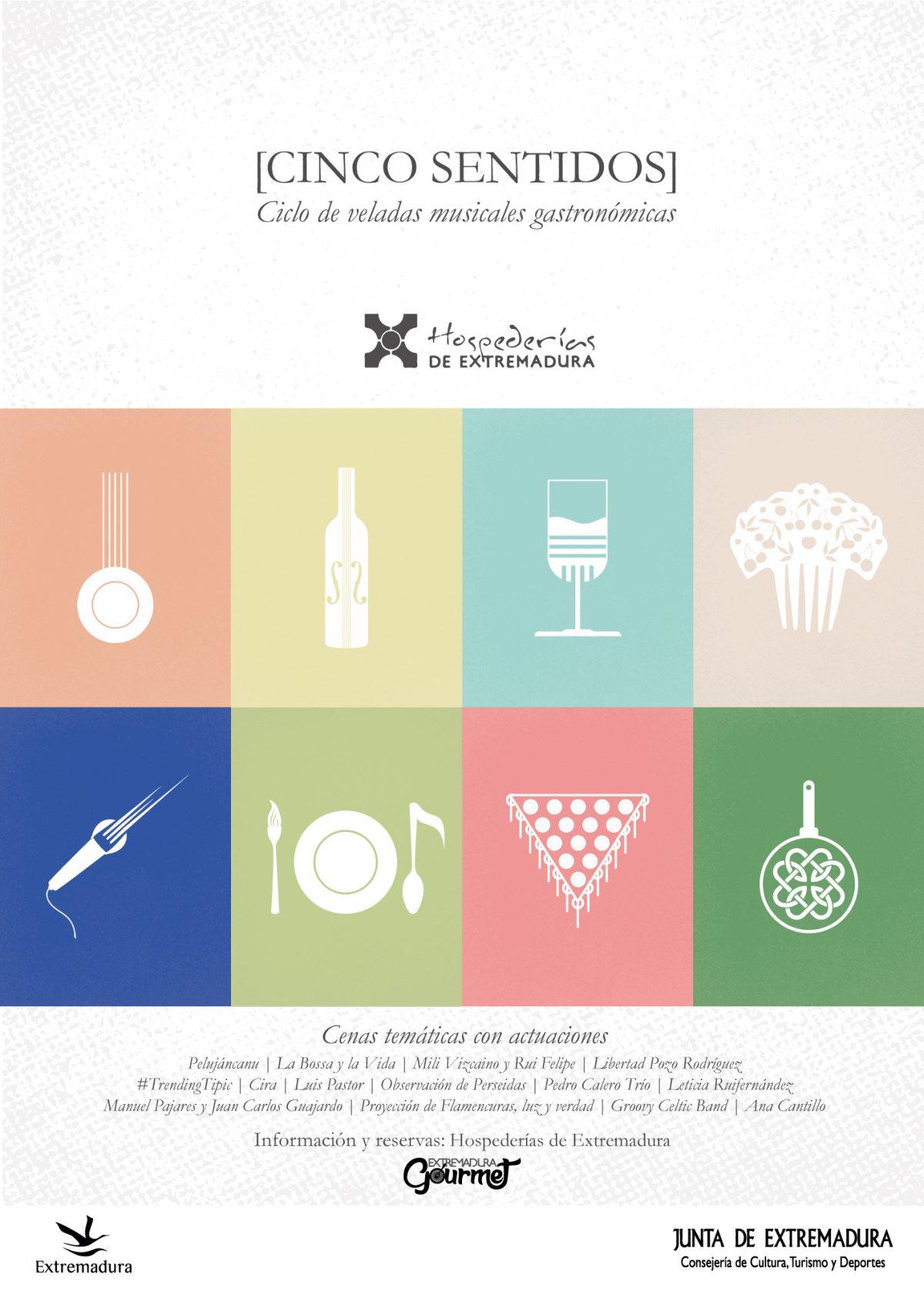 Cartel del ciclo de Conciertos Cinco Sentidos Hospederías de Extremadura